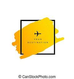 colorare, destinazione corsa, aeroplano, illustrazione