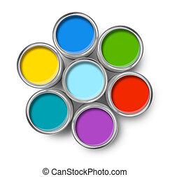 colorare, dipingere stagno, cima, lattine