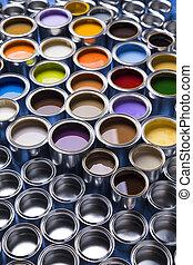 colorare, dipingere stagno, metallo, lattine