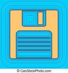 colorare, -, disco, contorno, blu, campo, cielo, fondo., nero, contorni, vector., mappa, floppy, segno., equidistant, sea., onde, icona, come, isola, oceano, sabbia, o