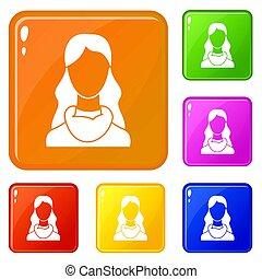 colorare, donna, set, icone