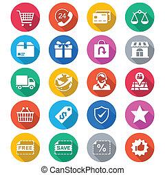 colorare, e-commercio, appartamento, icone