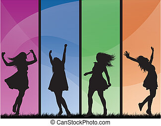 colorare, elegante, ragazze