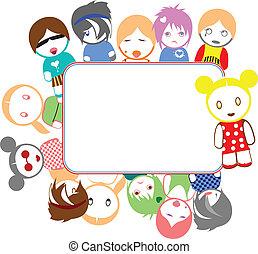 colorare, emo, bambini, cornice