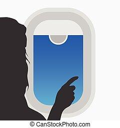 colorare, esso, illustrazione, finestra, ragazza, aeroplano