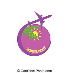 colorare, estate, viaggiare, vettore, festa