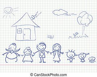 colorare, famiglia, felice