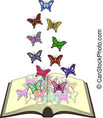 colorare, farfalle, libro
