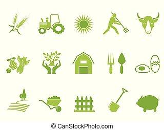 colorare, fattoria, set, verde, icona