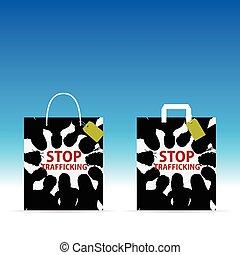 colorare, fermata, esso, illustrazione, borsa, carta, trafficking