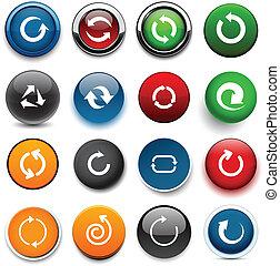 colorare, freccia, rotondo, icons.