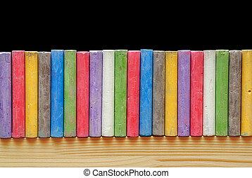 colorare, gessi, organizzato, linea