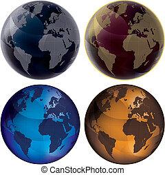 colorare, globo, set, -, 3d