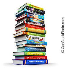 colorare, grande, libri, pila, libro copertina dura