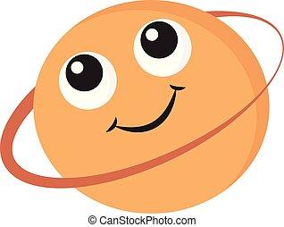 colorare, illustrazione, vettore, sorridente, saturno, o, emoji
