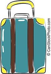 colorare, illustrazione, vettore, valigia, viaggiatore, o