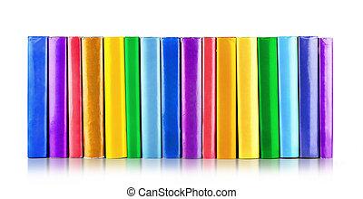 colorare, isolato, libri, fondo, bianco, pila