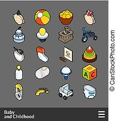 colorare, isometrico, set, contorno, icone