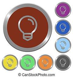 colorare, lampadina, bottoni