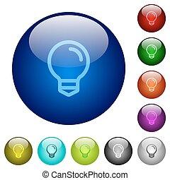 colorare, lampadina, vetro, bottoni