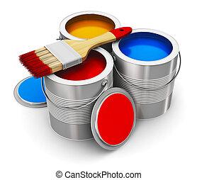 colorare, lattine vernice, pennello
