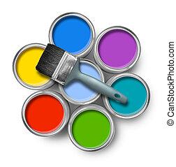 colorare, lattine vernice, spazzola