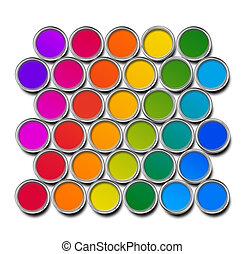 colorare, lattine vernice, spettro