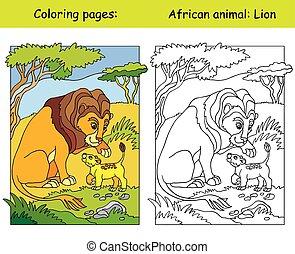 colorare, leone, coloritura