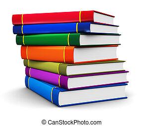 colorare, libro copertina dura, libri, pila