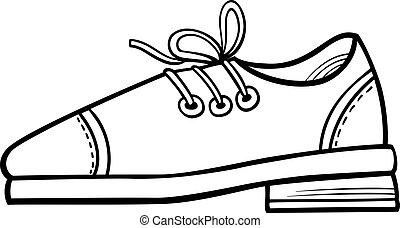 colorare, libro, pagina, clip, scarpa, arte, oggetto, cuoio, cartone animato