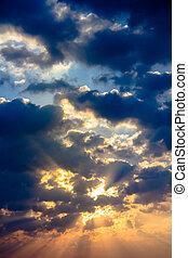 colorare, luce, cielo, raggio sole, crepuscolo, nuvola, raggio