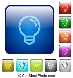 colorare, luce, quadrato, bulbo, bottoni