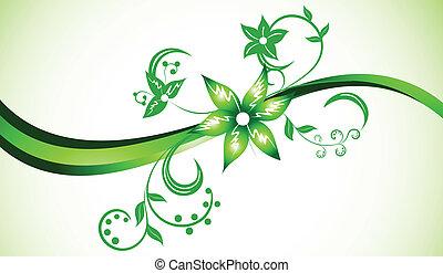 colorare, luminoso, vettore, sfondo verde