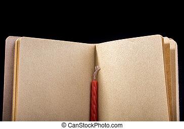 colorare, marrone, quaderno, aperto, candela