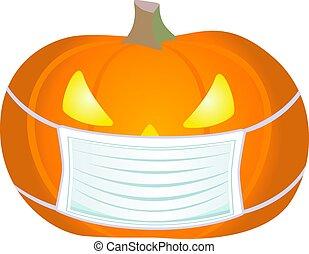 colorare, mask., illustration., pieno, lanterna, maschera, illustrazione medica, covid-19, durante, casato, il portare, coronavirus, pandemic., -, zucca, cricco, halloween, protettivo