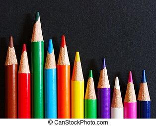 colorare, matite, carta, nero