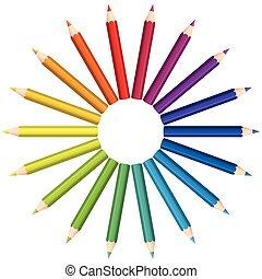 colorare, matite, cerchio, ventilatore, colorato