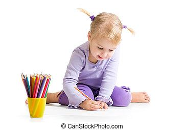 colorare, matite, disegno, capretto