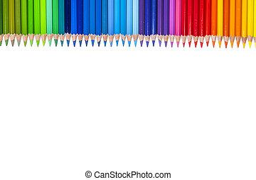 colorare, matite, linea, isolato