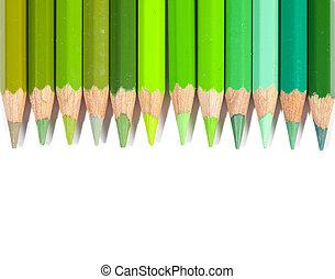 colorare, matite, linea, verde, isolato