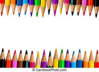 colorare, matite, luminoso, file