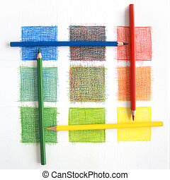 colorare, matite, miscelare