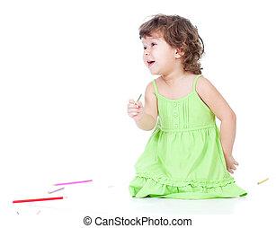 colorare, matite, piccola ragazza, disegno