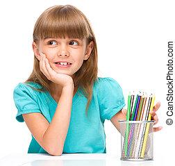 colorare, matite, piccola ragazza