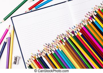 colorare, matite, quaderno, mazzo