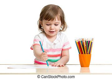 colorare, matite, ragazza, disegno, capretto