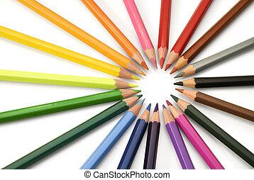colorare, matite, raggi