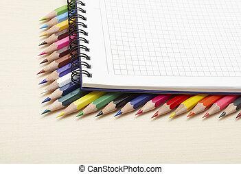 colorare, matite, set, blocco note, spirale