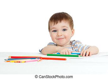 colorare, matite, sorridente, disegno, bambino