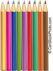 colorare, matite, vettore